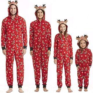 Pijamas Mujer Camisón Traje A Juego De La Familia De Navidad, Mono para Hombres Y Mujeres, Pijamas con Estampado Navideño, Ropa Roja, Ropa De Dormir De Navidad A La Moda