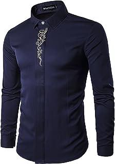 Amade メンズ シャツ 長袖 Yシャツ 大きいサイズ 光沢 刺繍柄 オシャレ ビジネス カジュアル 春 秋