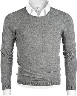 MOCOTONO Men's Long Sleeve Crew Neck Pullover Knit Sweater