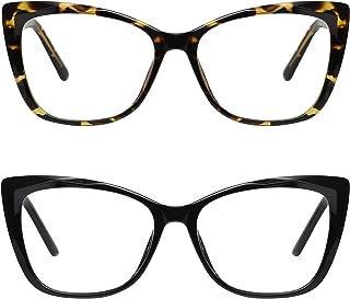 Me&Hz 2 Pack Cat Eye Blue Light Blocking Glasses Filter UV Glare Eyestrain Computer Game Eyeglasses for Women Men