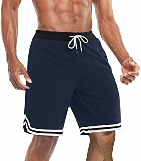 BIYLACLESEN Men's Athletic Running Shorts Mesh Quick Dry Gym Workout Basketball Shorts with Zipper Pockets
