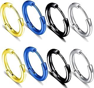 8pcs 316L Surgical Stainless Steel Hoop Earrings 10mm Hypoallergenic Earrings Cartilage Helix Lobes Hinged Sleeper Hoop Ea...
