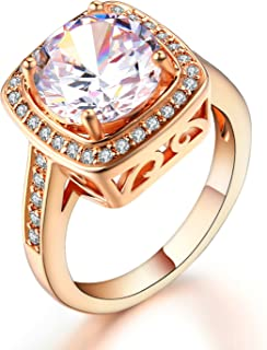Double Fair 5 Colors Optional Round Cut CZ Anniversary Ring Cubic Zirconia Wedding Engagement Promise Rings for Women Her