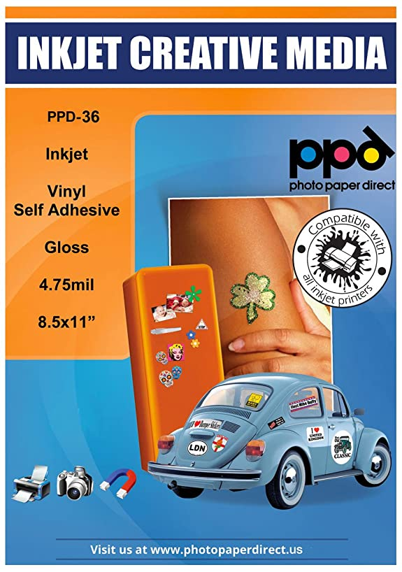 PPD Inkjet Glossy Creative Vinyl Stickers LTR 8.5 x 11 4.7mil x 50 Sheets (PPD-36-50)