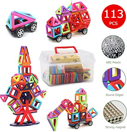 Magnetic BlocksBanne 113 PCS Magnetic Tiles Building Blocks Educational Toy Set for Kids with Storage Box Good for Enhancing Imagination Creativity and Logical Ability