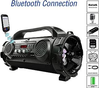 Boytone BT-50BK Portable Bluetooth Boombox Speaker, Indoor/Outdoor 2.1 Hi-Fi Cylinder Loud Sound Built-in 5.25