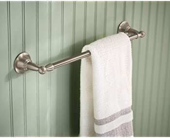 Moen DN6818BN Sage Collection 18-Inch Single Towel Bar, 18 Inch, Brushed Nickel