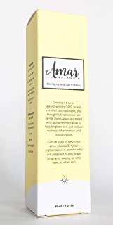 Amar Botanica Anti-Acne Daily Facial Treatment for Pregnancy | OBGYN Recommended | Vegan and Organic | Advanced AHA Formulation to Eliminate Hyper-Pigmentation, Rosacea and Cystic Acne