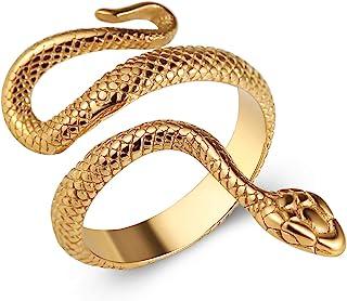 HZMAN خاتم الأفعى الرجال النساء مجوهرات القوطية ريترو الحيوان الأزياء شخصية الفولاذ المقاوم للصدأ الدائري