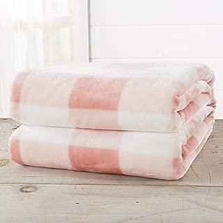 Great Bay Home Super Soft Plaid Buffalo Check Velvet Plush Bed Blanket. Flannel Fleece All Season Lightweight Blanket. (Twin, Blush Pink)