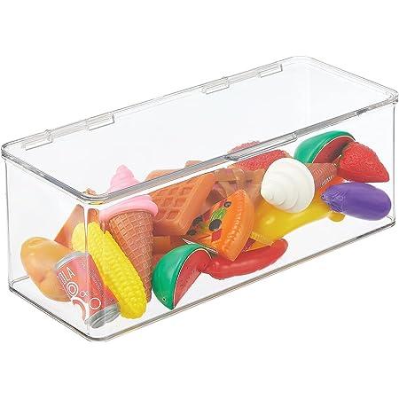 mDesign bac rangement jouet – grande boîte de rangement plastique robuste pour la chambre d'enfants – boîte avec couvercle empilable pour ustensiles de bricolage, jouets, etc. – transparent