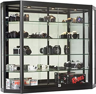 Wall-Mounted Tempered Glass and Black Aluminum Display Case Has Angled Front Design, 47-1/4 x 39-1/2 x 12-Inch, 3 Halogen Top Lights, and Locking Glass Doors