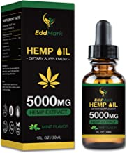 Hemp Oil Dietary Supplement for Pain Relief and Anxiety - 5000mg Hemp Oil Extract with Mint Flavor – 30Ml All-Natural Organic Hemp Drops – Can Improve Sleep, Skin – Anti-Inflammatory Properties