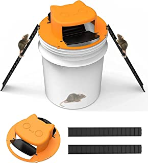 【3RD GEN Improved Design】 Carlio Bucket Mouse Trap Flip and Slide Bucket Lid Rat Trap Indoor Outdoor Mice Trap (1PC Yellow...