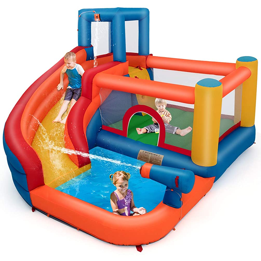 BOUNTECH Inflatable Bounce House, 5-in-1 Water Slide w/ Climbing Wall, Jumping Area, Splash Pool, Water Cannon, Including Oxford Carry Bag, Repairing Kit, Stakes, Hose, Without Blower