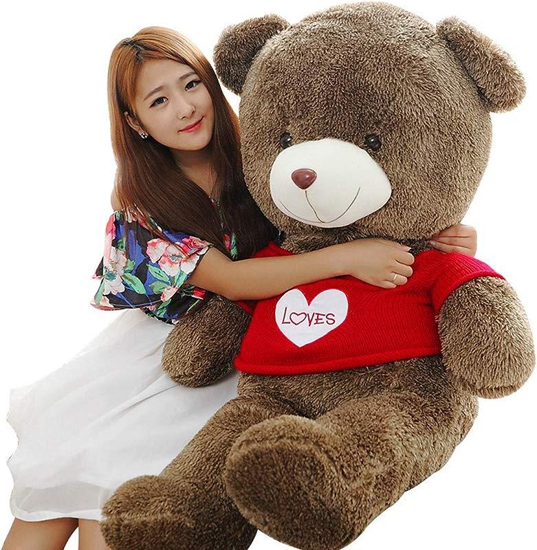 LApapaye 39 Inch Giant Teddy Bear Stuffed Animal With Sweater For Christmas Brown