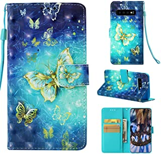 Galaxy S10 Case, Wallet Flip Folio Case Kickstand Card Slots String 3D Effect Colorful Painting PU Leather Wallet Shockproof Soft TPU Bumper Shell Ultral Slim Cover for Samsung Galaxy S10 - Butterfly