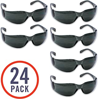 24 Pack of Tinted Safety Glasses (24 Protective Shaded Safety Goggles) UV Resistant Eye..
