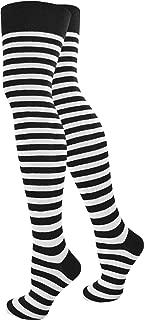 Schwarz oder Grau Uni Geringelt Yenita 2 Paar Damen Overknee /Überknie Kniestr/ümpfe