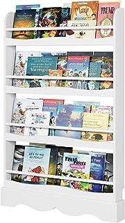 Homfa Librería Infantil para Niños Estantería de Pared Estantería Infantil para Libros Revistas con 4 Estantes Blanco 80x1...