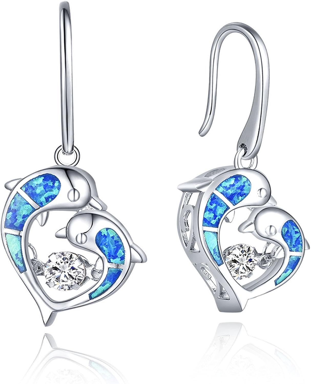 JO WISDOM Blue Fire Opal Dolphins Earrings Import Mermaid Tail Max 52% OFF Turtle 9