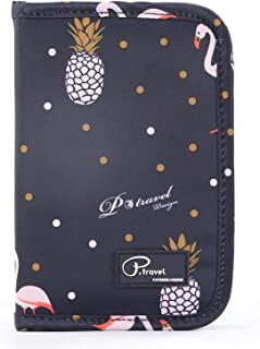 Family Passport Holder Document Organizer, Waterproof Flamingo Print Travel Wallet Purse with Zip Closure Ticket Credit ID Card Cash Pouch Holiday Money Bag for Men Women by ManKn (Flamingo - Navy Blue)