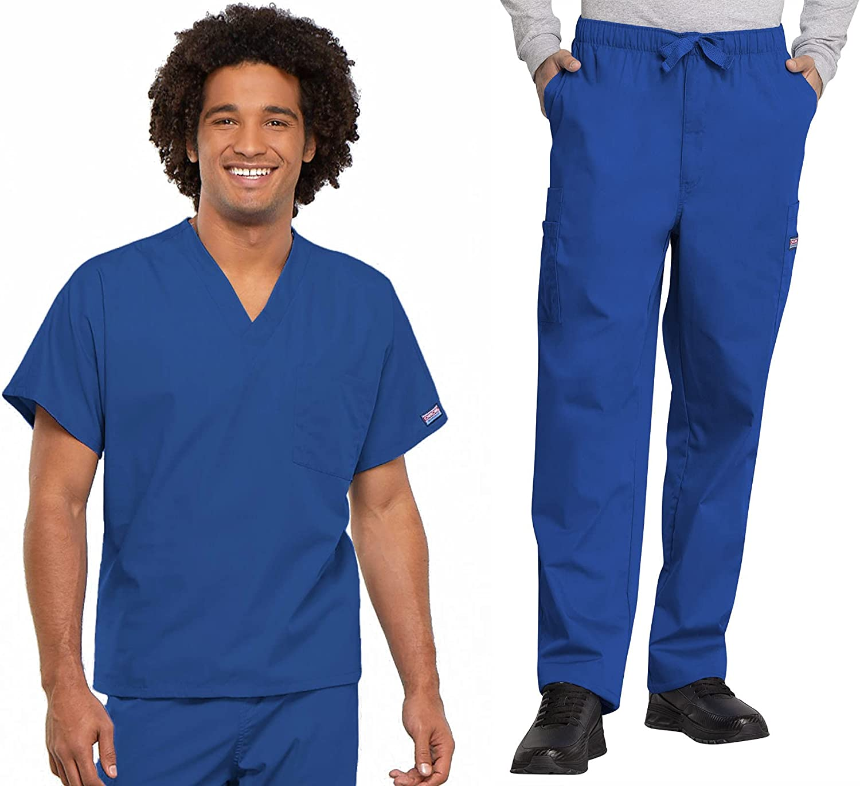 Workwear Revolution Men & Women Scrubs Set V-Neck Top 4777 & Drawstring Pant 4000T (Royal, M/M Tall)