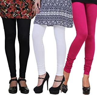 Pixie Leggings Set for Women's/Girls by Pixie in Combo (Pack of 3) Black, White and Pink - Free Size