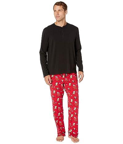 BedHead Pajamas Henley Pajama Set (Merry Christmas Snoopy) Men