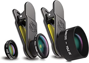 Black Eye Pro Kit, Tele 3X, Full-Frame Fisheye and HD Macro Clip On Lens, Compatible with Most Mobile, Tablet & Laptop Devices