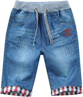 JiaYou Child Boy Mid Waist Elastic Straight Stretch Summer Capris Cropped Denim Jeans Shorts