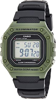 Casio W-218H-3AVDF Resin Square Digital Water Resistant Watch for Men - Black and Green