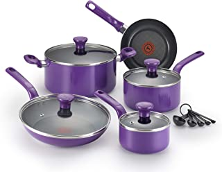 T-fal C511SE Excite Nonstick Thermo-Spot Dishwasher Safe Oven Safe PFOA Free Cookware Set, 14-Piece, Purple