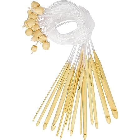 Curtzy Crochet Bois en Bambou avec Rallonge en Plastique (16 Crochets) - Tailles 2 à 12 mm - Aiguilles pour Crochet Tunisien avec Perles - Pour Fil à Tricoter, Tissage et Crochet