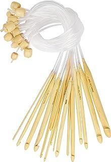 Curtzy Crochet Bois en Bambou avec Rallonge en Plastique (16 Crochets) - Tailles 2 à 12 mm - Aiguilles pour Crochet Tunisi...