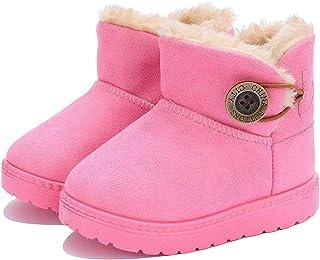Botas de Nieve para niños niñas Zapatos Invierno 2019 Botines Cómodos Calzado Piel Forradas Calientes Planas Casual Boots ...