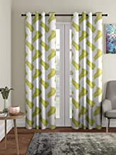 Cortina Polyester Decorative Eyelet Fitting Door Curtains, Pack of 2 Metal Gourment Printed Door Curtains for Bedroom, Kitchen, Kids or Living Room- Green (210 X 115 cm)