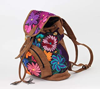 Boho Backpack - Mexican Suede Embroidered Backpack - Hippie Backpack - Mochilas de mujer de moda