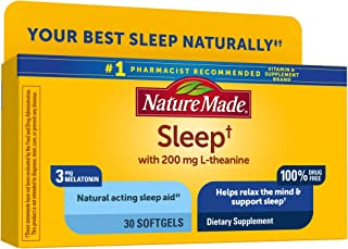 Nature Made Sleep 3mg Melatonin + 200mg L-theanine, 30 Softgels