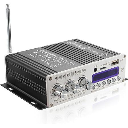 オーディオアンプ コンパクト高音質 高出力 USB/SDカード/Bluetooth対応 パワーアンプ Bluetooth Hi-Fi ステレオオーディオアンプ AMP Bluetooth小型アンプ 12V 車載アンプ K-AMP01-B
