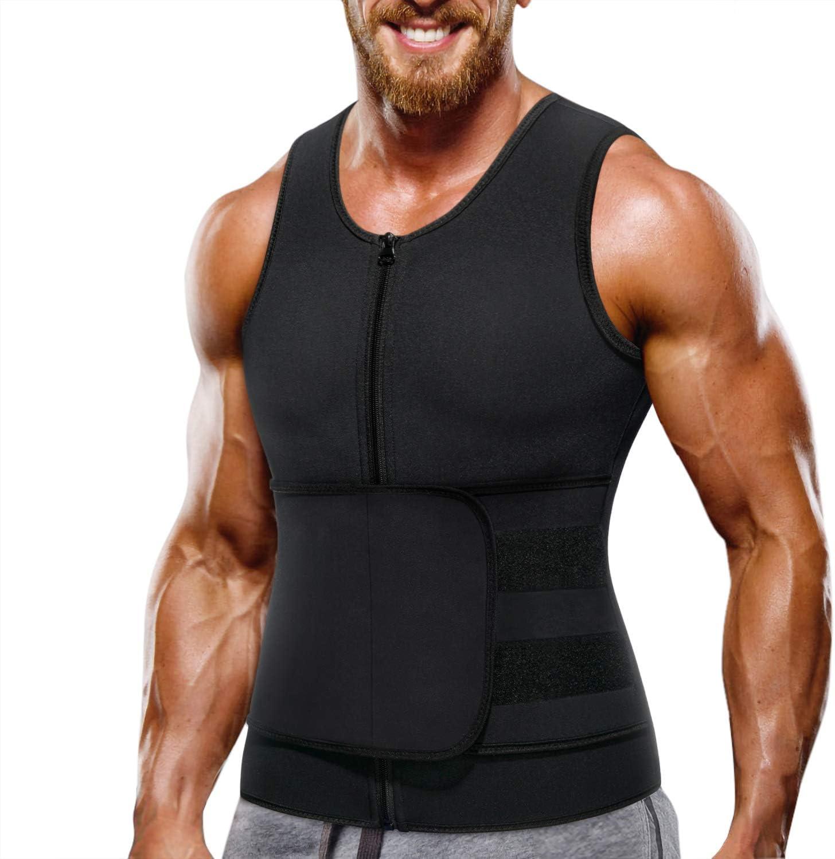 SM SunniMix Herren Sweat Sauna Weste f/ür Taillentrainer Neopren Tank Top Verstellbarer Sauna Workout Body Shape Rei/ßverschlussanzug