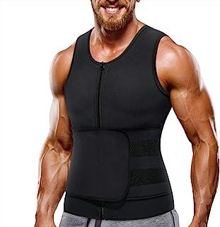 Wonderience Neoprene Sauna Suit for Men Waist Trainer Vest Zipper Body Shaper with Adjustable Velcro Tank Top