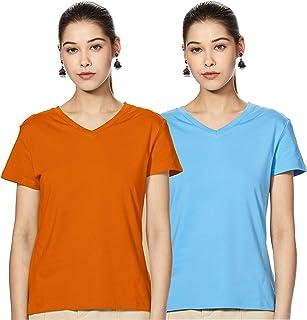 Amazon Brand - Symbol Women's Solid Regular Fit Half Sleeve cotton T-Shirt