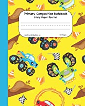 Primary Composition Notebook Story Paper Journal: Yellow Monster Trucks Dashed Mid Lined Pages For Alphabet Practice Along With Space For Drawing Pictures 8