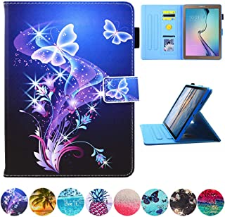 "Galaxy Tab A 10.1 Case, T580 Case, JZCreater PU Leather Folio Stand Wallet Case, Auto Sleep/Wake Smart Cover for Samsung Galaxy Tab A 10.1"" SM-T580/ T585, Purple Butterfly"