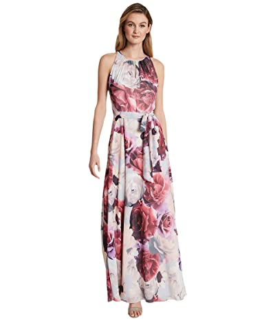 Tahari by ASL Petite Ruched Neck Gown (Blue/Pink Floral) Women