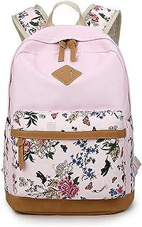 DNFC Schulrucksack Canvas Rucksack Mädchen Teenager Schulranzen Blumen Freizeitrucksack Mode Kinderrucksack Fashion Damen Daypack Backpack Schultaschen Pink