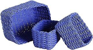 Canghai Paniers de rangement carrés en osier tressé, empilables, lot de 3 boîtes en 2 tailles, boîtes de rangement pour pl...
