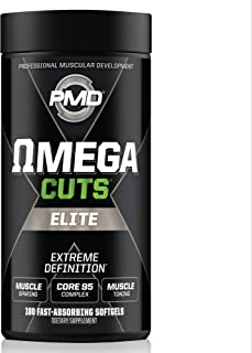 PMD Sports Omega Cuts Elite Zero Stimulant, Maximum Strength MCT, CLA and Omega Fatty Acid Complex Formula for Muscle Definition and Maintenance - 180 Softgels