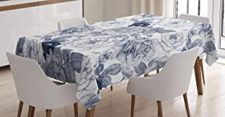 Ambesonne Shabby Flora Tablecloth, Garden Spring Roses Buds with Leaves Flowers Romantic Image Artwork, Rectangular Table Cover for Dining Room Kitchen Decor, 60